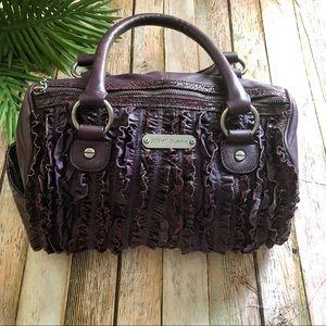 Betsey Johnson  deep purple ruffle satchel